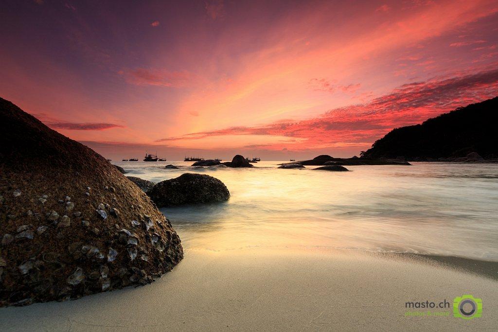 Sunrise over Cristal Cove Beach