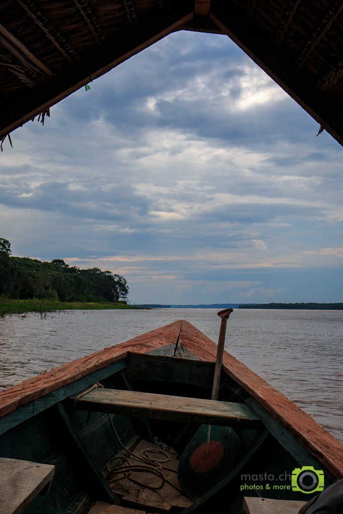 Rain clouds over the Amazon river